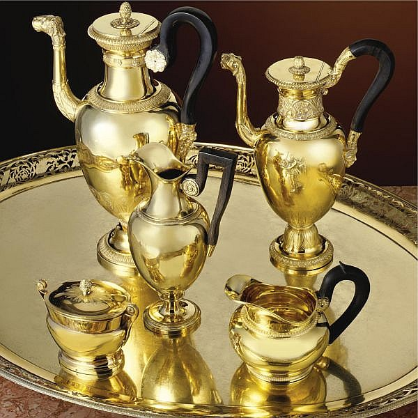 A French Assembled five-piece silver-gilt coffee set, Paris, circa 1800-1830