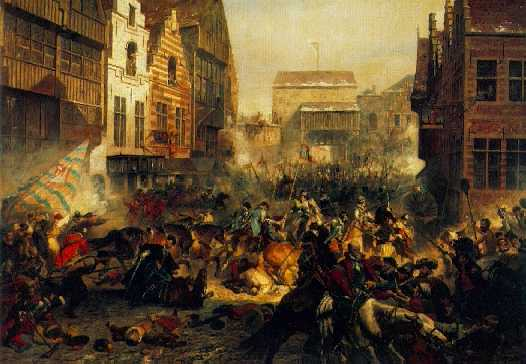 ADOLPHE ALEXANDER DILLENS (1821-1877) THE ATTACK ON ANTWERP IN 1583 BY THE DUC D'ANJOU, THE FORMER DUC D'ALENCON.