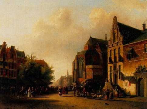 ALEXANDER SALOMON VAN PRAAG (1812-1865) MANY FIGURES ON A SQUARE IN A DUTCH TOWN