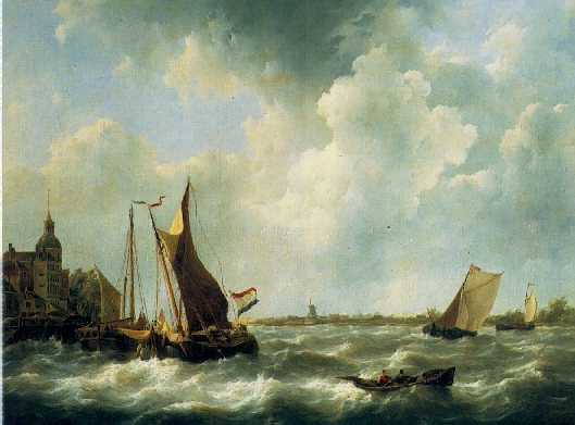 JOHANNES CHRISTIAAN SCHOTEL (1787-1838) VESSELS ON THE MERWEDE NEAR DORDRECHT