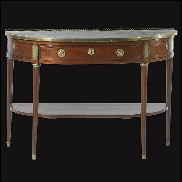 A Louis XVI white-marble, ormolu-mounted and mahogany console en desserte; last quarter 18th century, stamped E. Avril, JME
