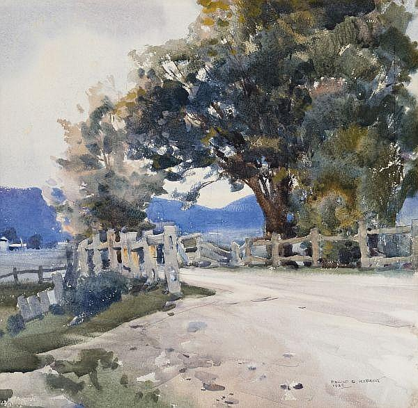 Harold Herbert , Australian 1892 - 1945 THE COUNTRY ROAD Watercolour on paper