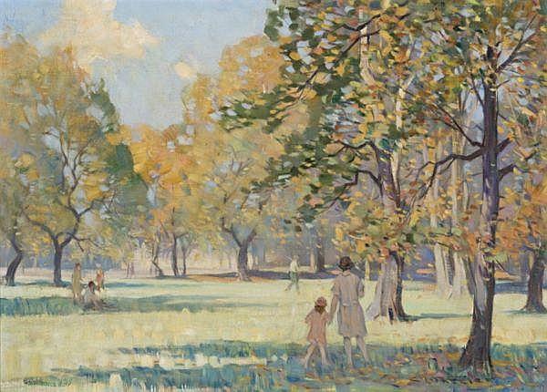 Charles Arthur Wheeler , Australian 1881-1977 AUTUMN IN THE GARDENS Oil on canvas