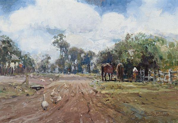 Walter Withers , Australian 1854-1914 ON THE ELTHAM ROAD Oil on canvas
