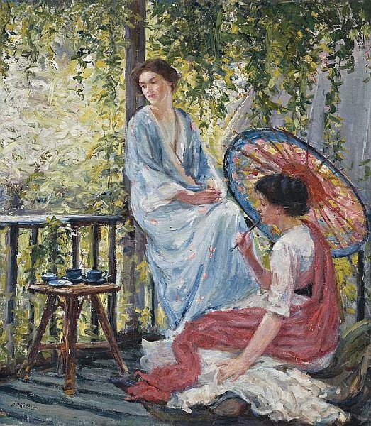 Dora Meeson , Australian 1869-1955   ON A CHELSEA BALCONY Oil on canvas