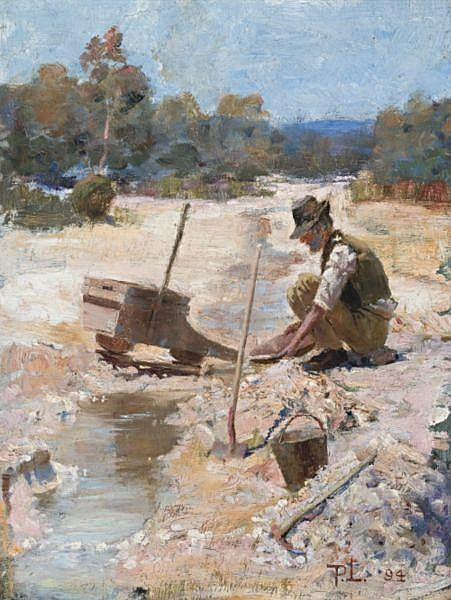 Percy Lindsay , Australian 1879 - 1969 FOSSICKING FOR GOLD Oil on canvas
