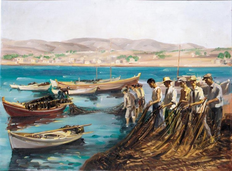 VASSILIS GERMENIS GREEK, 1896-1966 COLLECTING THE NETS