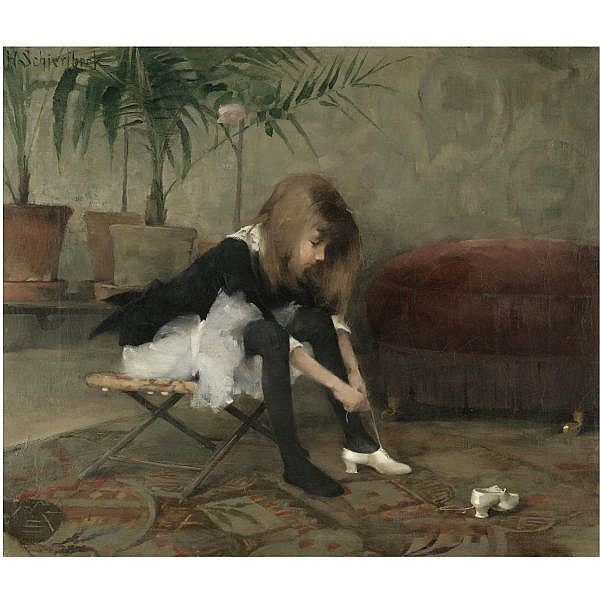 Helene Schjerfbeck Finnish 1862-1946 , Tanssiaiskengät; Balskorna (dancing shoes) oil on canvas