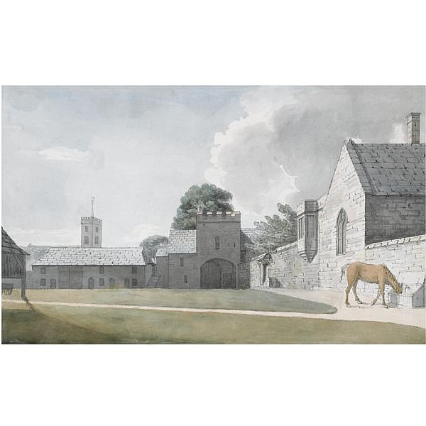 Moses Griffith , 1747-1819 Ripley Hall, Yorkshire pen and black ink with watercolour over pencil on watermarked laid paper