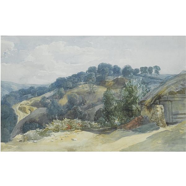 John Middleton , 1828-1856 A view of a wooded hillside from a farm watercolour over pencil heightened with bodycolour