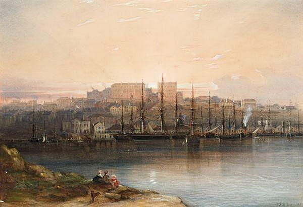 Conrad Martens , Australian 1801-1878   CAMPBELL'S WHARF Watercolour on paper on panel