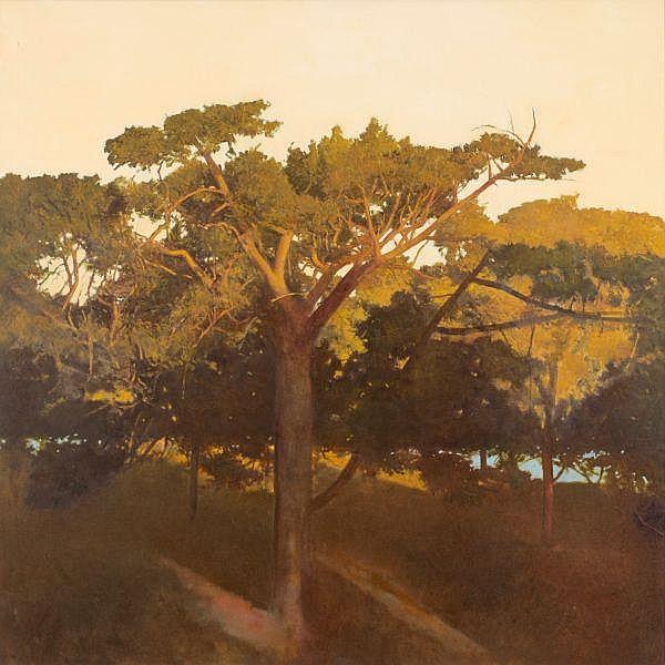 BRYAN WESTWOOD , Australian 1930-2000 CENTENNIAL PARK SUNSET Acrylic on canvas