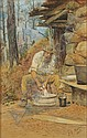 Julian Ashton , Australian 1851-1942 THE MORNING'S CHORES Watercolour and gouache on paper   , Julian Ashton, Click for value