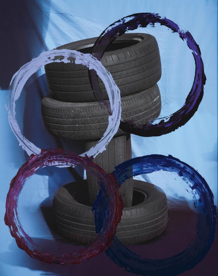 SAM FALLS | Untitled (Tires, violet)