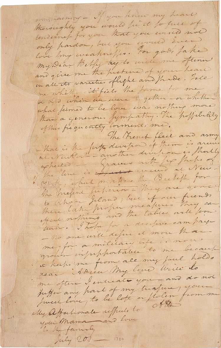 ALEXANDER HAMILTON AN ANGUISHED LOVE LETTER TO ELIZABETH SC