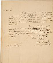 ALEXANDER HAMILTON, AUTOGRAPH LETTER SIGNED, PRESUMABLY TO PHILIP SCHUYLER, RECOMMENDING NICHOLAS CARMER