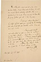 ALEXANDER HAMILTON, AUTOGRAPH LETTER SIGNED TO ELIZABETH HAMILTON, CHECKING ON HIS FAMILY'S PROGRESS TO ALBANY