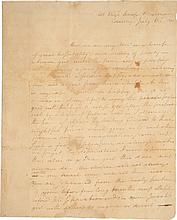 ALEXANDER HAMILTON, AUTOGRAPH LETTER SIGNED TO ELIZABETH SCHUYLER, LAMENTING HIS SEPARATION FROM ELIZA