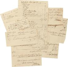 A GROUP OF 9 SCHUYLER FAMILY DOCUMENTS, 1760–1772, BEING INVOICES AND RECEIPTS FOR PURCHASES