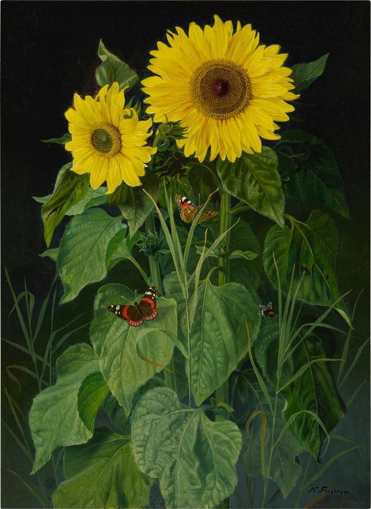 NIELS FISTRUP, 1837-1909 | Sunflowers and Butterflies