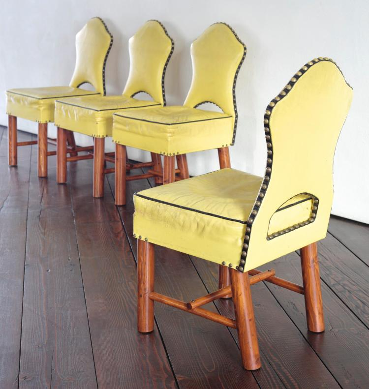 THOMAS MOLESWORTH   Set of Four Keyhole Chairs from Hunter Hereford Ranch, Wyoming