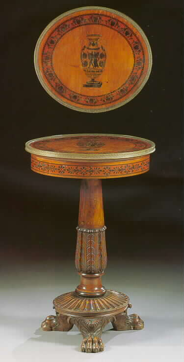 A fine and rare Italian walnut, ebonised and marquetry gueridon table in the Etruscan manner,