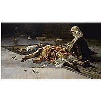 Salvador Sánchez Barbudo , Spanish 1857-1917 a watchful eye - the vigil oil on canvas