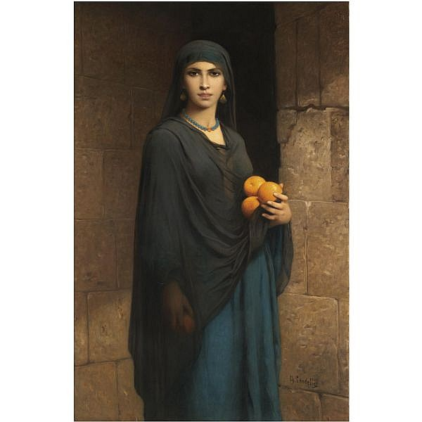Charles Landelle , French 1812-1908 woman with oranges oil on canvas