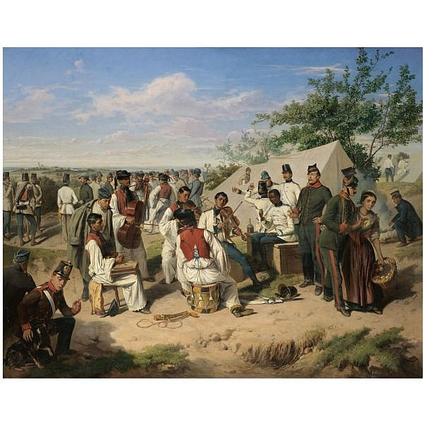 - Wilhelm Richter , Austrian 1824-1892 Szene aus dem italienischen Feldzuge (Austrian soldiers resting during the Italian campaign) oil on canvas