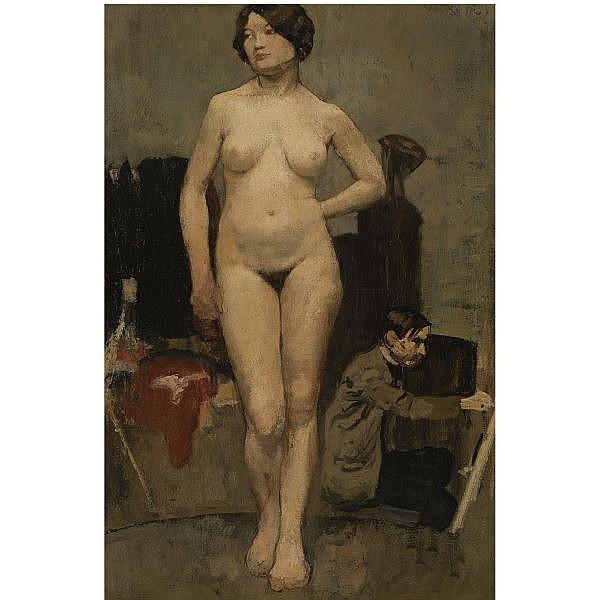 Henri-Jacques Edouard Evenepoel , Belgian 1872 - 1899   Femme nue, Etude d'atelier oil on canvas