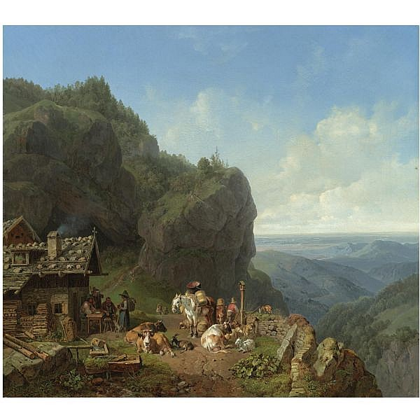 Heinrich Bürkel , German 1802-1869 Wirtshaus auf der Alm mit Alpzug (tavern in the alps) oil on canvas