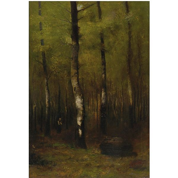 - Laszlo Mednyanszky , Hungarian 1852-1919 woodland oil on canvas