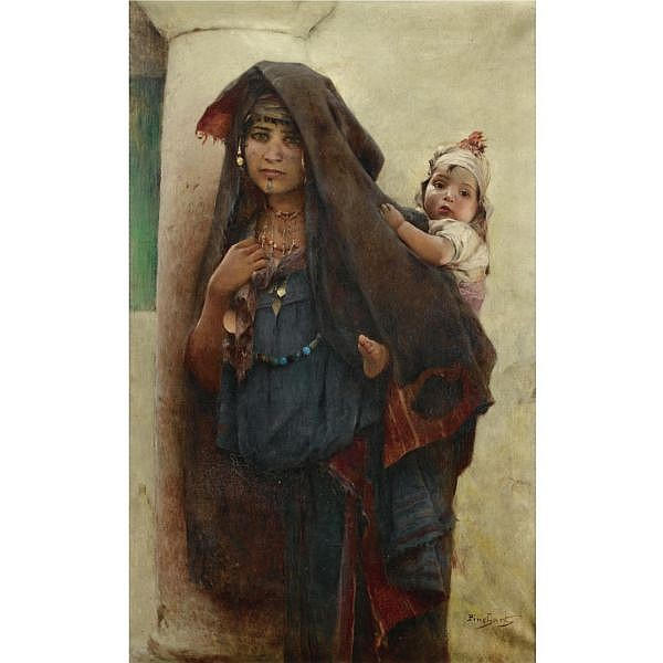 Émile-Auguste Pinchart , French 1842 - 1924 Bédouine à Tunis   oil on canvas