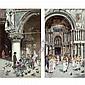 José Gallegos , Spanish 1859-1917 Outside Saint Mark's Basilica, Venice; a pair oil on panel