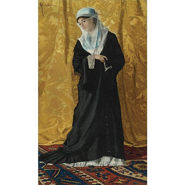 - Osman Hamdy Bey , Turkish 1842-1910 A Lady of Constantinople oil on canvas