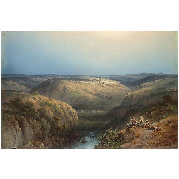 - Johannes Hilverdink , Dutch 1813-1902 view of jerusalem oil on canvas