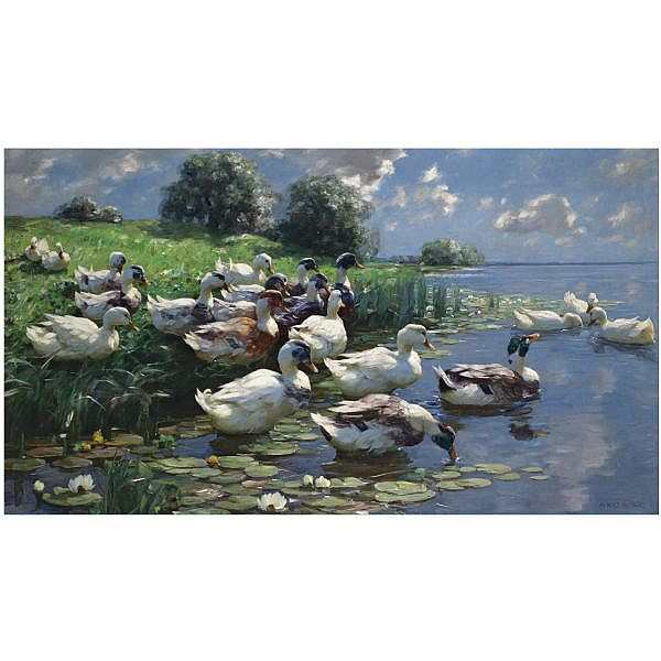 Alexander Koester , German 1864-1932 Enten am Seeufer (ducks on a lake shore) oil on canvas