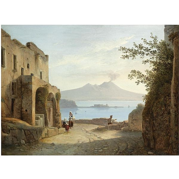 Franz Ludwig Catel , German 1778-1856 Sicht von Neapel aus Posillipo (View of Naples from Posillipo)   oil on canvas