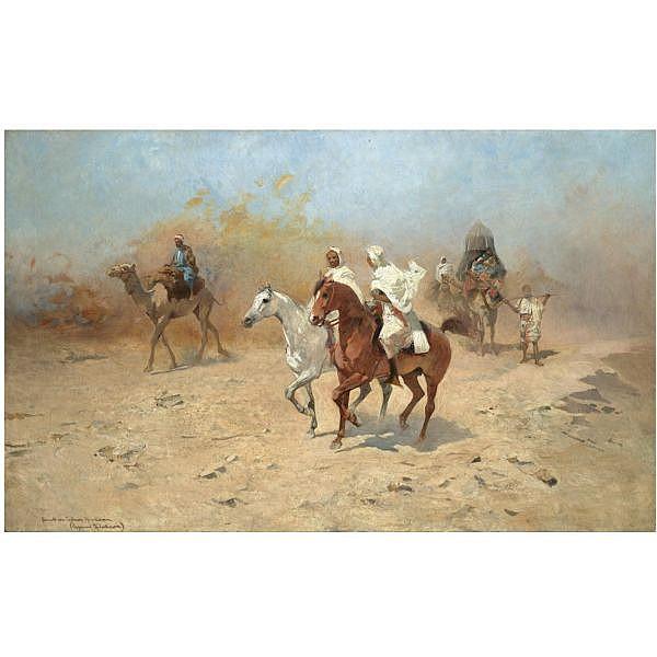 - Tadeusz Ajdukiewicz , Polish 1852-1916 A Camel Caravan in the Desert oil on canvas