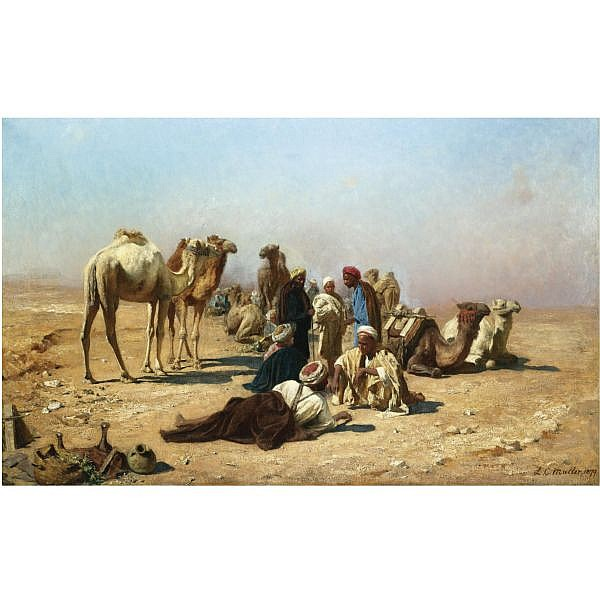 - Leopold Carl Müller , German 1834-1892 halt in the desert oil on canvas