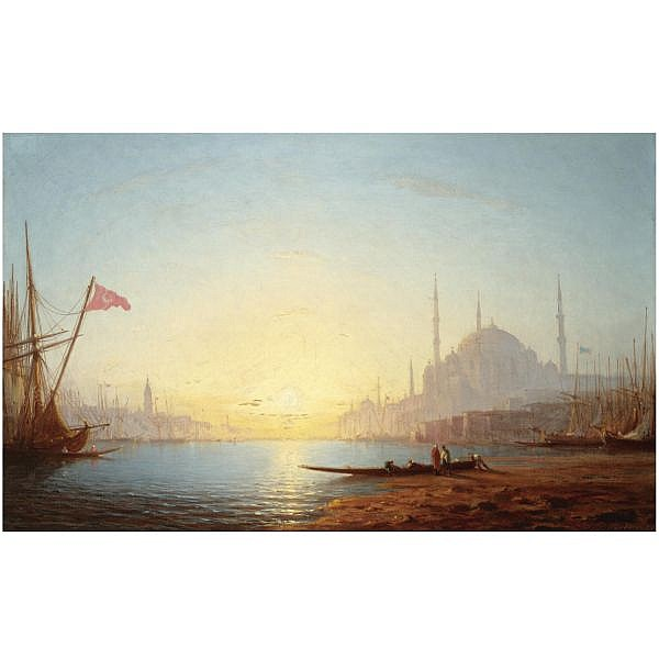 - Amédée Rosier , French 1831-1898   view of constantinople oil on canvas