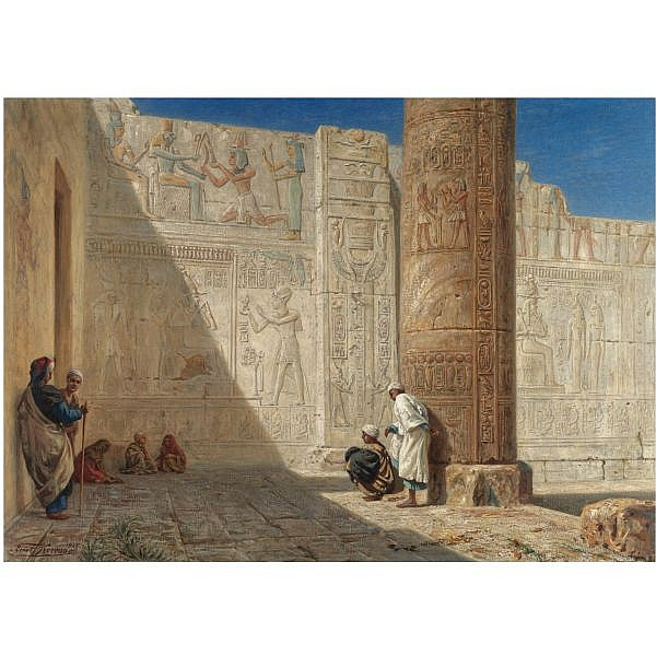 Ernst Koerner , German 1846-1927 The Temple of Seti I, Abydos oil on canvas