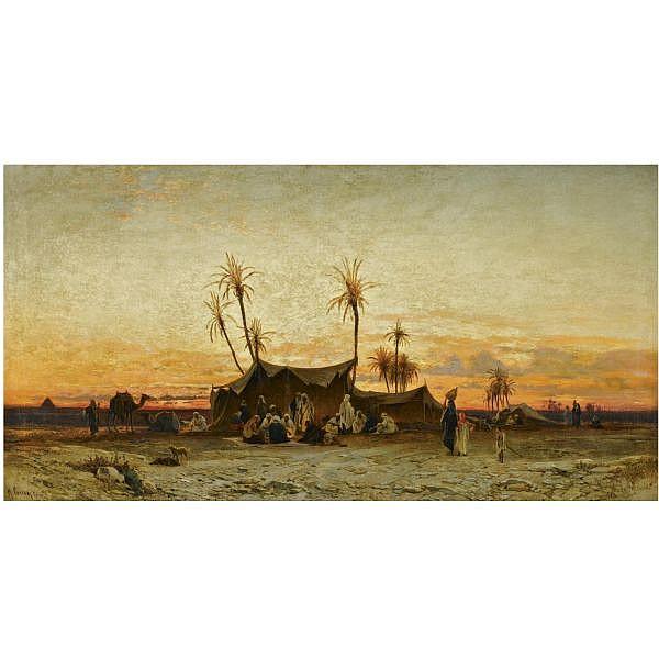 - Hermann Corrodi , Italian 1844-1905 An Arab Encampment at Sunset oil on canvas