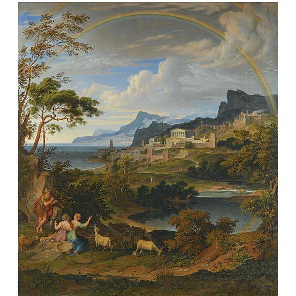 Joseph Anton Koch , German 1768-1839   Heroische Landschaft mit Regenbogen (heroic landscape with rainbow) oil on canvas