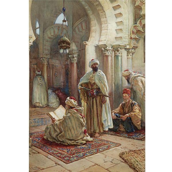 - Giuseppe Carosi , Italian 1883-1965 prayer at the mosque watercolor on paper