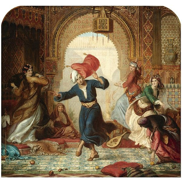 Alfred Fowler Patten , British 1829-1888 The Pillow Fight oil on canvas