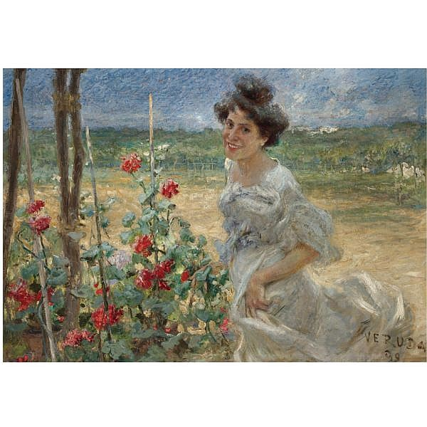 Umberto Veruda , Italian 1868-1904 in the flower garden oil on canvas