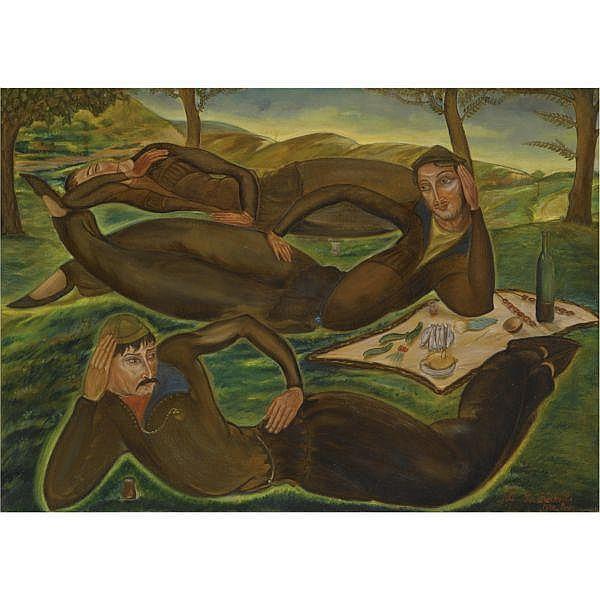 - Lado Gudiashvili , 1896 - 1980 The Dreamers of Ortachala oil on canvas