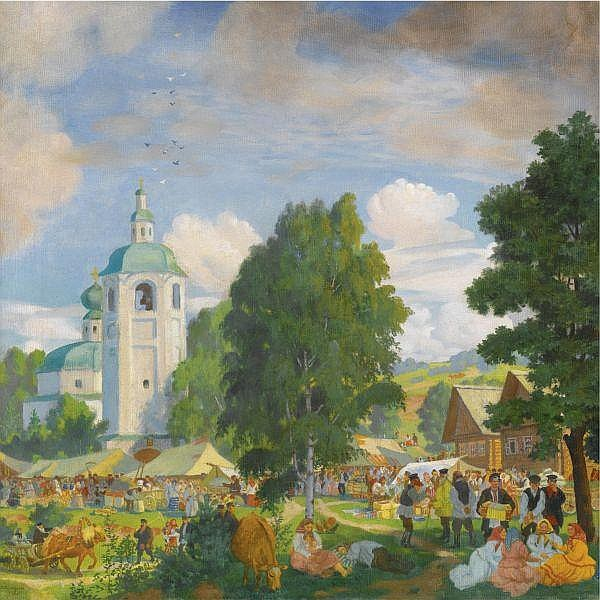 Boris Mikhailovich Kustodiev , 1878-1927 The Village Fair oil on canvas