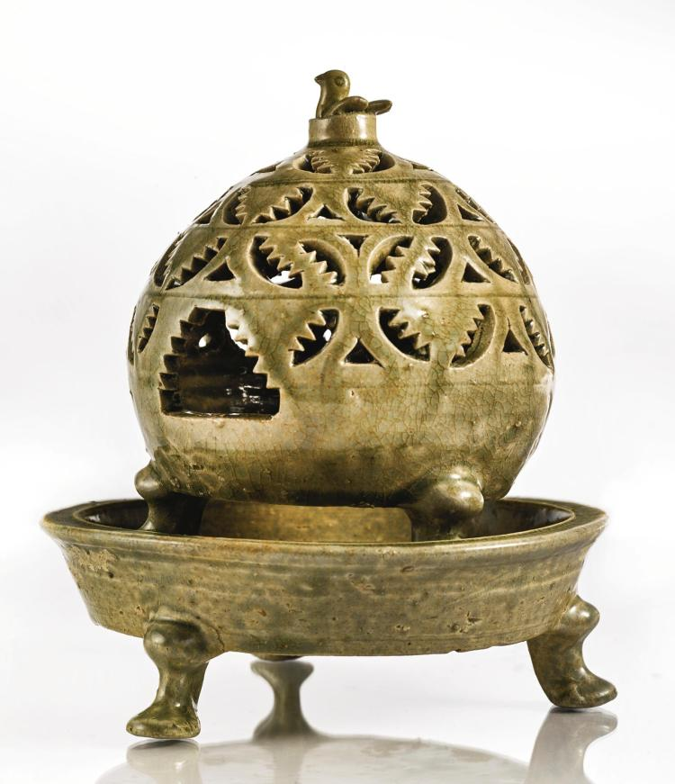 A RETICULATED 'YUE' CENSER WESTERN JIN DYNASTY, 3RD / 4TH CENTURY |